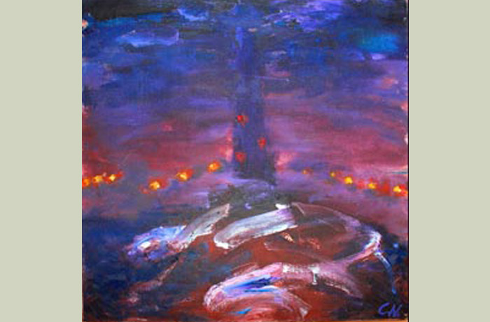 Photo: Ilkley moor tower at night