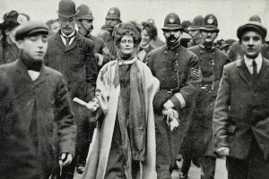 Social History. London, February 1908. Emily Pankhurst, is arrested by police officers.