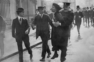 Emmeline Pankhurst being arrested