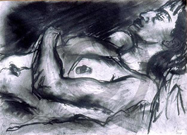Sleeping Woman 2 - Charcoal on paper