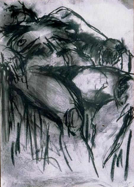 Sleeping Woman 3 - Charcoal on paper