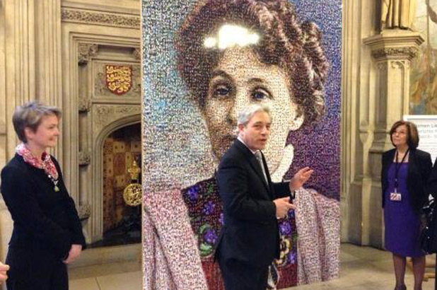 Emmeline Pankhurst portrait at Westminster with Yvette Cooper , Shadow Home Secretary, John Bercow, Speaker House of Commons & Baroness d'Souza, Lord Speaker